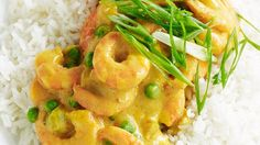 Curried prawns  I REMEMBER MY MOTHER ADDING CELERY AND CARROTS TO HER VERSION.