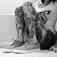leg tattoos, calf tattoos, and nikes!