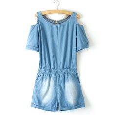 Stylish Scoop Collar Off-The-Shoulder Short Sleeve Women's Denim Jumpsuits, AS THE PICTURE, L in Jumpsuits | DressLily.com