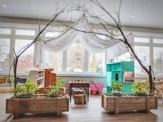 If an outdoor garden isn't an option, allowing students to grow plants in the classroom allows them to explore their world in the parameters provided. Preschool Classroom Decor, Eyfs Classroom, Preschool Rooms, Classroom Layout, Toddler Classroom, Classroom Setting, Classroom Design, Preschool At Home, Reggio Emilia Classroom