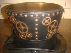 Steampunk madhatter Hand made  Leather Look Top Hat with copper cogs and studs