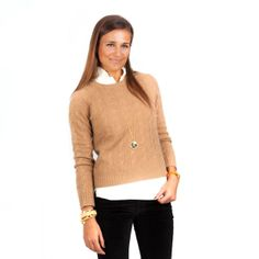 Pink Pineapple Camel Classic Cashmere Cable Crew via Tuckernuck An absolute must in camel, navy, ivory, and black (and charcoal and red...if available). Although I would certainly not wear it with the ridiculous smirk this model has on her face.