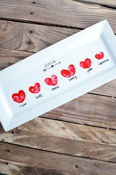 Make this easy & adorable Heart Thumbprint Platter with your kids' thumbprints and you've got a special Mother's Day gift or darling Valentine's Day decor!