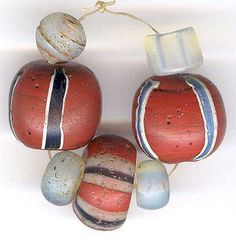 Antique Venetian Brick Red Striped Beads European Moon Beads African Trade Beads | Collectibles, Beads, 1800-1950 | eBay!