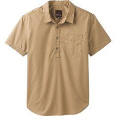 PrAna Brandt Short Sleeve Shirt - S - Dark Khaki - Men's Shirts ($65) ❤ liked on Polyvore featuring men's fashion, men's clothing, men's shirts, men's casual shirts, tan, mens short sleeve shirts, mens casual short sleeve shirts, mens casual short-sleeve button-down shirts and mens tan through shirts