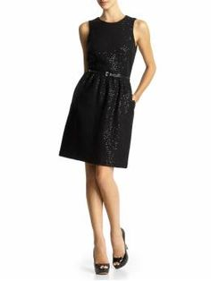this might be this year's Christmas party dress  - Michael Kors sequin belted wool dress