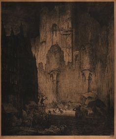 Jules De Bruycker(Belgian, 1870-1945) Autour le Chateau des Coteau des Comtes de Flandres, Gand  1913 Etching with touches of drypoint