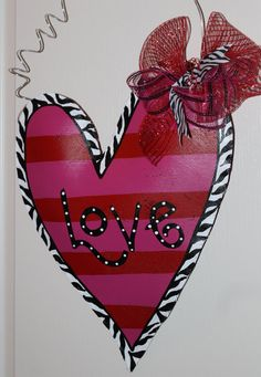 Red and Pink Striped Heart Valentine's Door Hanger by abossard, $38.00