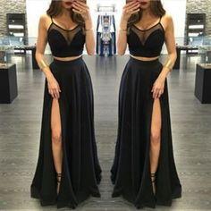 J180 sexy spaghetti straps see through right slit prom dress, black chiffon prom gowns, evening dresses