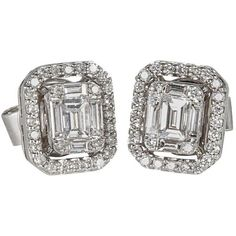 Preowned Illusion Emerald Cut Diamond Gold Stud Earrings ($5,000) ❤ liked on Polyvore featuring jewelry, earrings, green, stud earrings, round gold pendant, yellow gold earrings, diamond pendant, gold diamond pendant and green diamond earrings