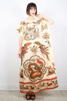 Vintage Caftan Dress Maxi Dress Kaftan Hippie Dress OS Bird Dragon Print Ethnic Tribal Print Boho Bohemian Festival Sundress XL Extra Large #vintage #etsy #70s #1970s #hippie #boho #bohemian #festival #caftan #kaftan #sundress #dress