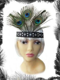 Peacock Feathers Flapper Headband, 1920s
