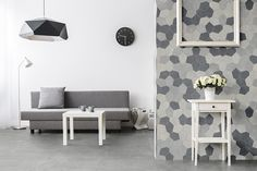 If you thought wallpaper was out of style, think again! Read more about the latest wallpaper trends in 2019 and find out how wallpaper is making a comeback. Thought Wallpaper, New Wallpaper, Concrete Look Tile, Polygon Shape, Geometric Tiles, Wall Boxes, Latest Wallpapers, Subtle Textures, Porcelain Tile