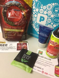 Another awesome Pinchme Box!  This one has Purina One Dog Food and a coupon for a free bag!  Shea Moisture Sensitive Skin and No Scent Body Lotion (Awesome!!) Scotch Brite peel as you go lint brush! and Another amazing Pure Leaf Tea - this one is cold tea