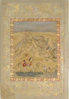 1605 Mughal Emperor Jahangir Watching an Elephant Fight. Servants hold fireworks on poles to control the direction of the action. An early work still influenced by the Safavid Style of Persia by Farrukh Chela. Gold detail in the margins added in the e. 18th C.