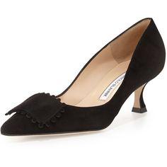 Manolo Blahnik Bottopla Square-Detail Suede Pump ($790) ❤ liked on Polyvore featuring shoes, pumps, black, pointed-toe pumps, black mid heel pumps, black suede shoes, kohl shoes and black pumps