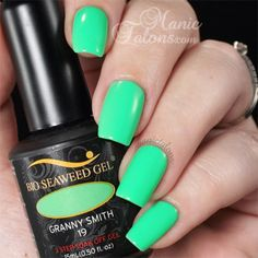 Manic Talons swatch - Bio Seaweed Gel - Granny Smith #19 - bright, blue toned green cream