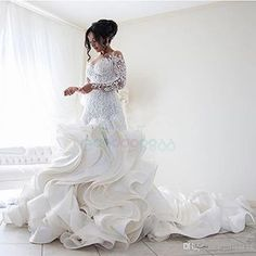 Middle East Steven Khalil Ruffles Cathedral Train Mermaid Wedding Dresses 2017 Luxury Lace Long Sleeve Sheer Back Arabic Wedding Gowns