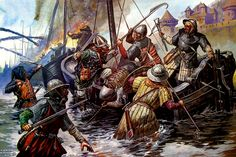 English troops assault the French Fleet on the Orne River under the walls of Caen 1346