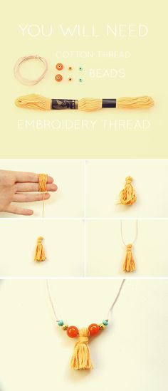 Tassel beaded bracelet DIY using embroidery cotton from Fall For DIY
