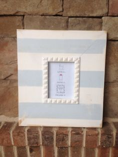 Large White and Light Blue Striped Distressed Frame
