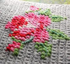 cross stitch rose on crochet  on Rosehip blog, 'Slow Start', Jan 14th 2014