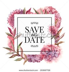 Wedding invitation card with watercolor flowers. Vector illustration - stock vector