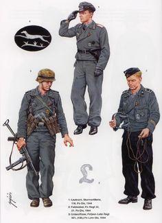 WEHRMACHT, 1 Leutnant, Sturmartillerie, 116a Panzedivision, 1944 - 2 Feldwebel, Pz Rgmt. 22, 21a PanzerDivision, 1944 - Unteroffizier, PzGrenadier LEHR Rgmt., PanzerDivision LEHR 1944 - 5 Insegna tattica di combattimento LEHR