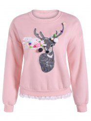 SHARE & Get it FREE | Lacework Trim Deer Applique Flocking SweatshirtFor Fashion Lovers only:80,000+ Items • New Arrivals Daily • Affordable Casual to Chic for Every Occasion Join Sammydress: Get YOUR $50 NOW!