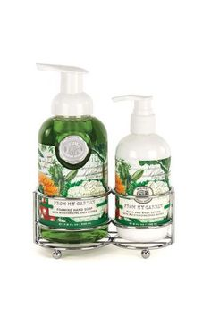 Michel Design Works Handcare Caddies - From My Garden  A silver-toned caddy holds our popular foaming hand soap and rich hand lotion together in one place, whether that is in the bath or in the kitchen. Very elegant, very convenient.  Scent: Cucumber Melon