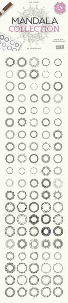 Today we're happy to share a massive set of 100 mandala circles which getting more and more popular. Designed by Julia Dreams, these vector illustrations offer exceptional quality and variety! Mandala Pattern, Mandala Art, Web Design, Graphic Design, Zentangle, Wreath Drawing, Halloween Vector, Coffee Illustration, Photoshop