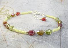 Beaded Ankle Bracelet  Yellow Opal and Crystal Glass Anklet