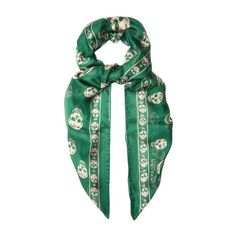 Alexander McQueen Skull-print silk-chiffon scarf ($171) ❤ liked on Polyvore featuring tops, green, silk chiffon top, alexander mcqueen, knot top, alexander mcqueen top and skull top