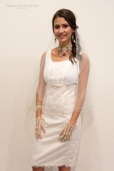"""Robe de mariage """"Civil"""" -L'Amour est éternel - en soie et dentelle de Calais signée @fabiennedimanov #mariage #artsmod 2018 #madeinfrance  #robedemariee #robedemarieesurmesure  #robedemariagecivil Bracelet, collier et boucles d'oreille signés @Mekamelys White Dress, Collection, Dresses, Art, Fashion, Dressed In White, Silk, Boucle D'oreille, Necklaces"""