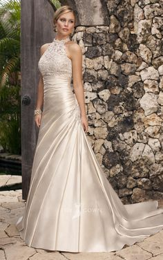 Modern Sweetheart Strapless A-line Pleated Wedding Dress with Beaded Lace Halter Jacket