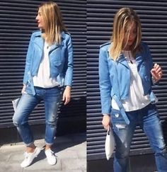 ZARA Sky Blue Faux Leather Biker Jacket SIZE M BNWT BLOGGERS !!!!!❤️ | eBay