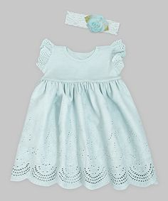 Another great find on #zulily! Pale Aqua Eyelet Dress & Floral Lace Headband by Truffles Ruffles #zulilyfinds
