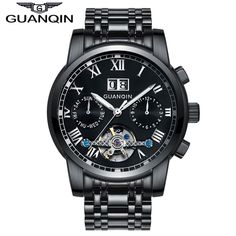 (59.99$)  Know more - http://aijeg.worlditems.win/all/product.php?id=32792909964 - GUANQIN GJ16031 Watches Men Business Luxury Sport Automatic Mechanical Steel Watch Luminous Mens Tourbillon Top Brand Wristwatch