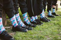 Matching socks for groomsmen  http://www.neverseriousblog.com/the-perfect-day-wedding-recap-part-1-2/