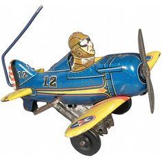 Louis Marx Toys Tin Wind-Up Roll-Over Airplane