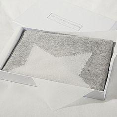 Cashmere Star Baby Blanket - Pale Grey Marl
