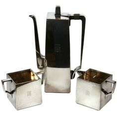 Rare Tiffany bauhaus-influence art deco tea set | From a unique collection of antique and modern tea sets at https://www.1stdibs.com/furniture/dining-entertaining/tea-sets/