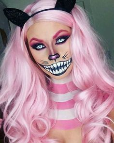 Cat  @🔱Sofia🔱 Halloween Looks, Cheshire Cat Halloween Costume, Scary Kids Halloween Costumes, Cheshire Cat Cosplay, Cheshire Cat Makeup, Disney Halloween, Halloween Inspo, Cat Costumes, Halloween 2017
