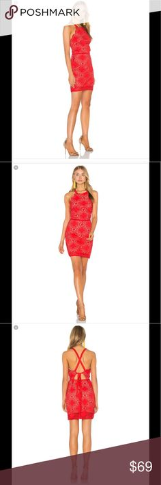 Beautiful Endless Rose Red Dress from Revolve! Brand New Dress. Worn only ONCE to a wedding. Got SO many compliments on this beautiful dress. Awesome back detail. Color Red. Size Small. No longer available for purchase on Revolve.com Still have the tags and receipt. Revolve Dresses Midi