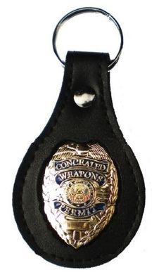 Men/'s Leather Concealed Carry Badge Holder Neck Chain Security Shield
