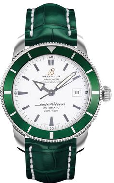 Breitling Superocean Heritage 42 green with silver dial and green crocodile strap. #Breitling