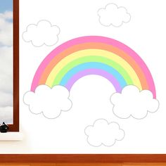 Rainbow & Clouds - Children's Art Vinyl Decal Mural Nursery Wall Sticker Transfer - Designed by Rubybloom Designs