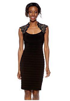 Xscape Cap-Sleeve Matte Jersey Sheath Dress