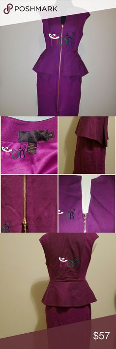 """Ted Baker London Size 3/US 8/M Plum Dress Ted Baker London Plum Size 3/US 8/Medium Dress? Bust: 37""""? Waist: 30""""? Hips 38.5? Full length from shoulder to hem is approximately 37""""? ??ITEM DESCRIPTION and condition??? New With Defects? Zippers is fully functional. However the upper pull area of zipper closure is broken. There is also a little deodorants marks on both arms from fitting in store.? There torn in the insider trading area of the dress Please see/ view the last pictures of it.? Ted…"""