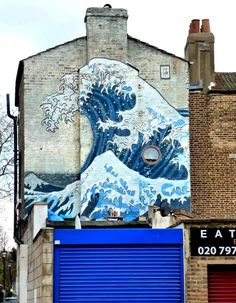 Hokusai Wave Mural Mural Approximate Location: Coldharbour Place, Camberwell, London SE5, UK Artist: Dominic Swords Photography By: London Mural Preservation Society